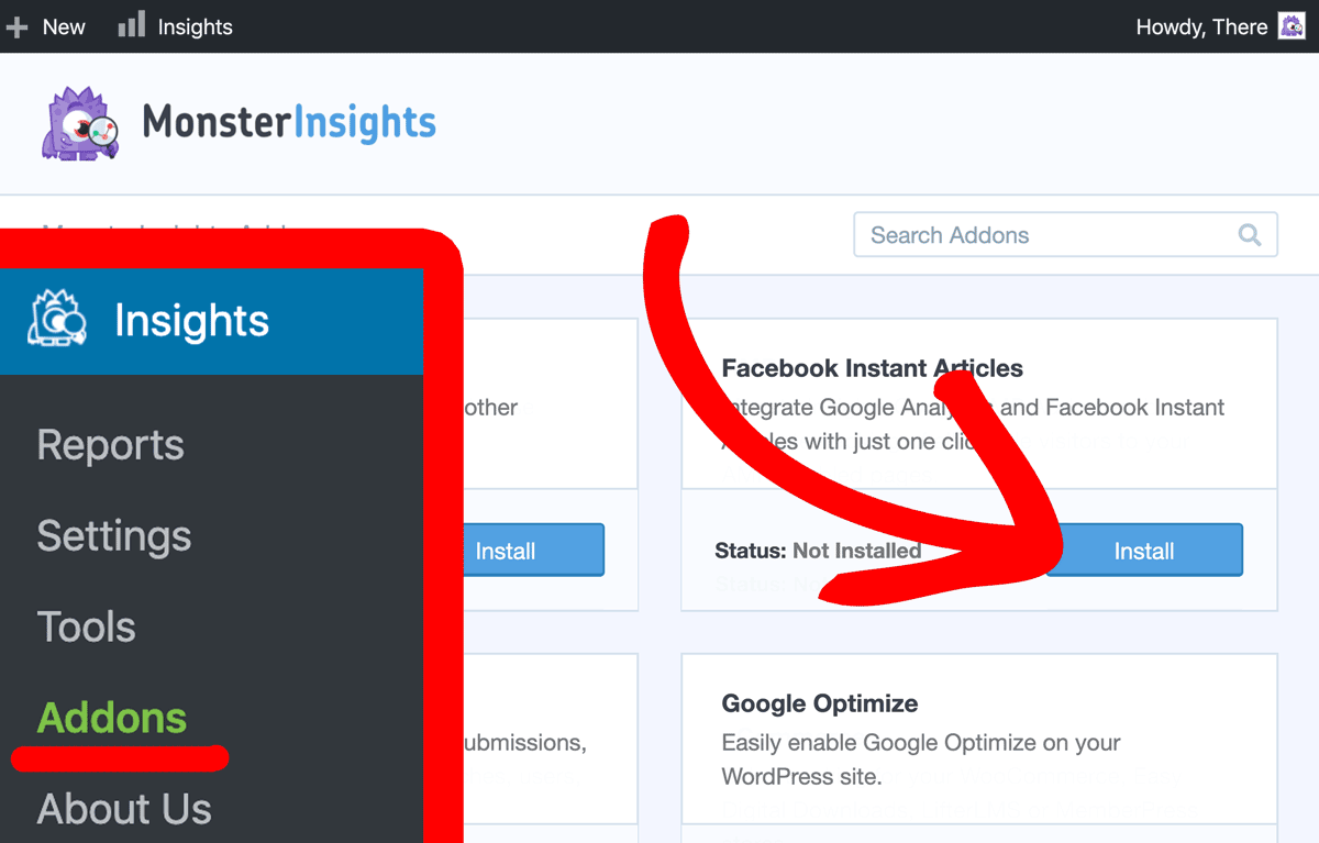 Install MonsterInsights Facebook-Instant Articles Addon