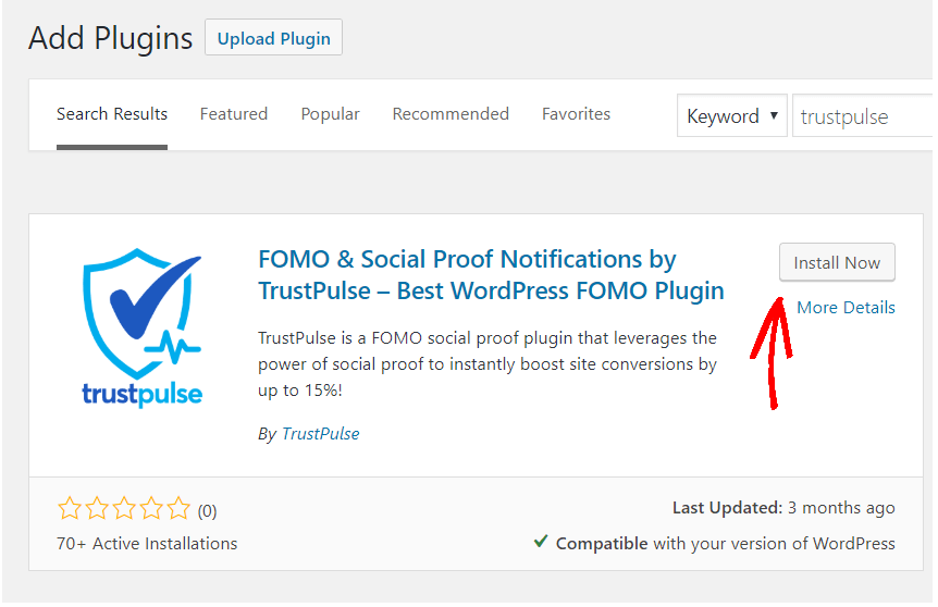 Étape 1 search-trustpulse-wordpress-plugin