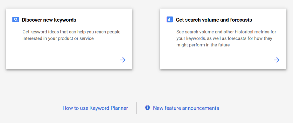 Step 2 select discover keyword or forecast