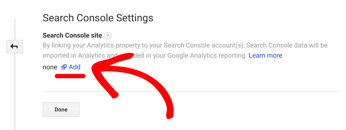 Add search console settings connection to GA