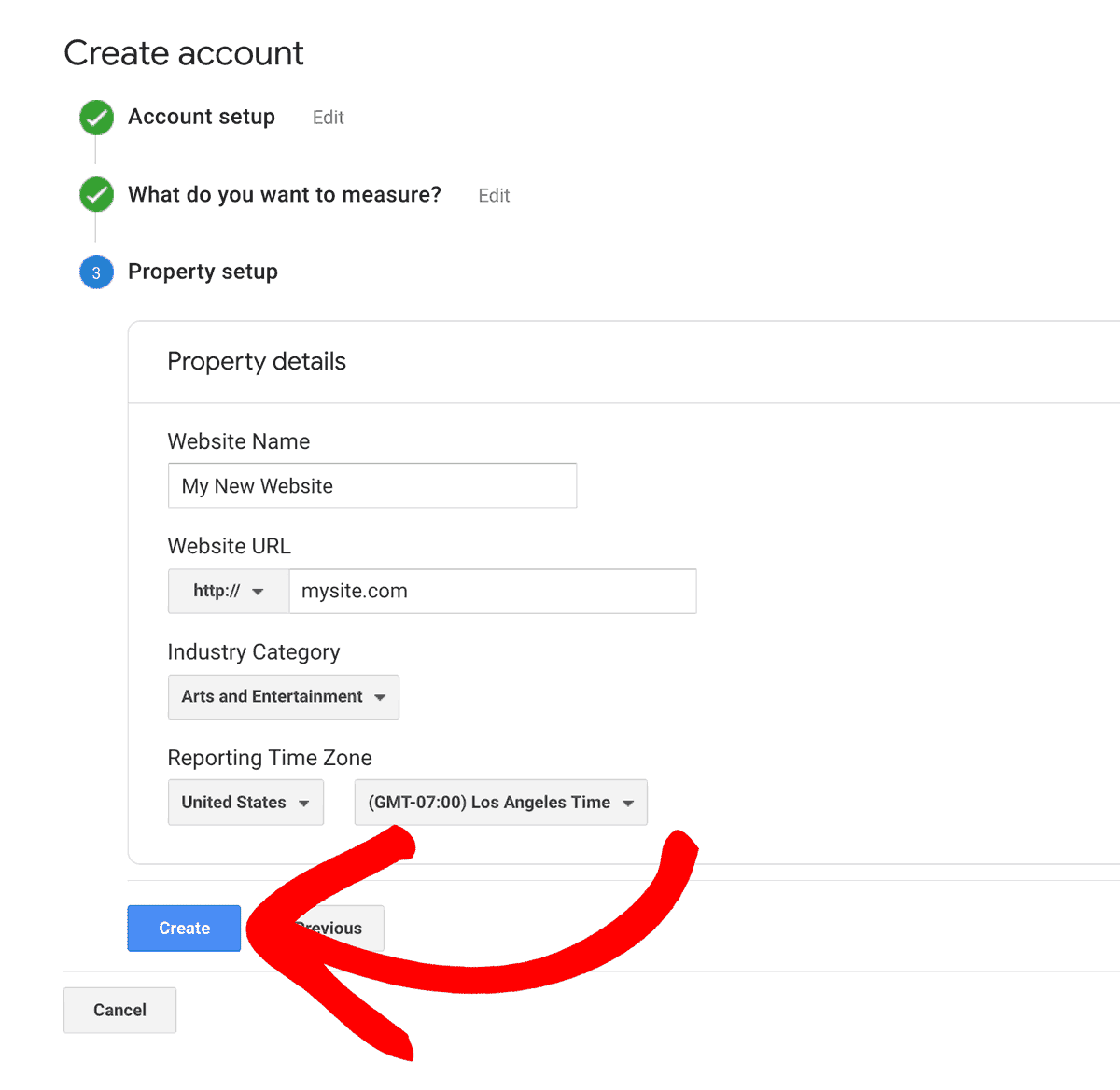 Create GA Account Step 3