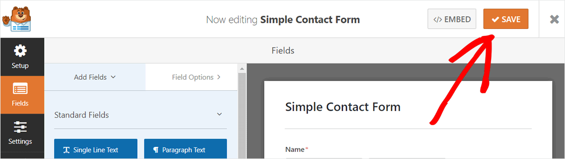 Save Your Contact Form