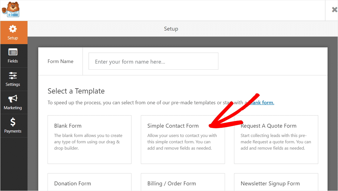 Select Simple Contact Form Template WPForms