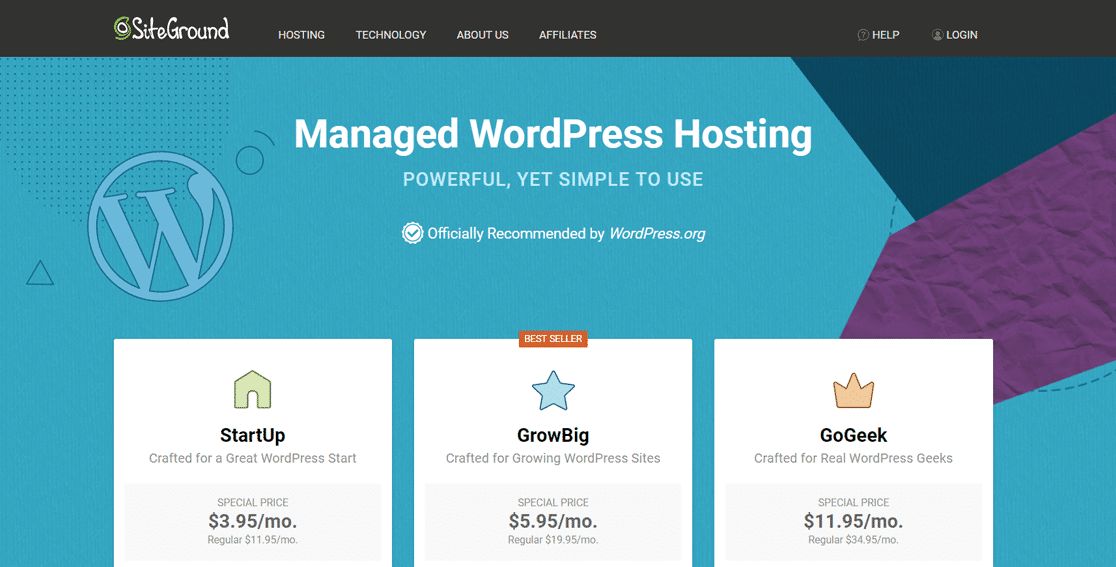 Hébergement WordPress géré par SiteGround