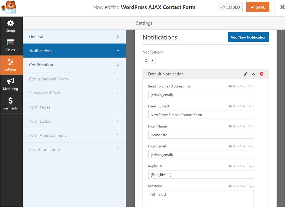 WPForms AJAX Form Notification Settings