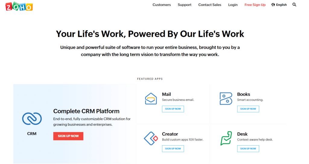 zoho best crm for startups