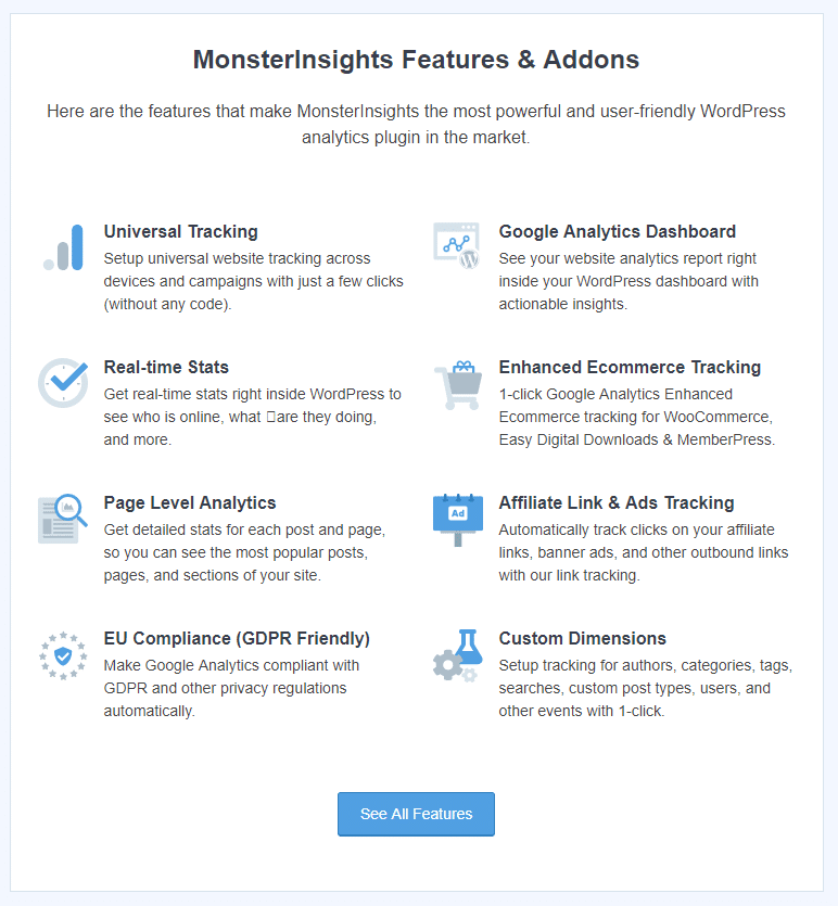 New MonsterInsights 7.8 release welcome screen with features and addons