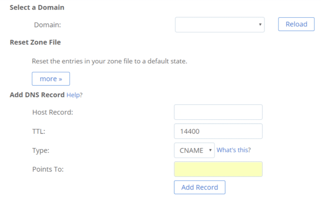 bluehost cname record