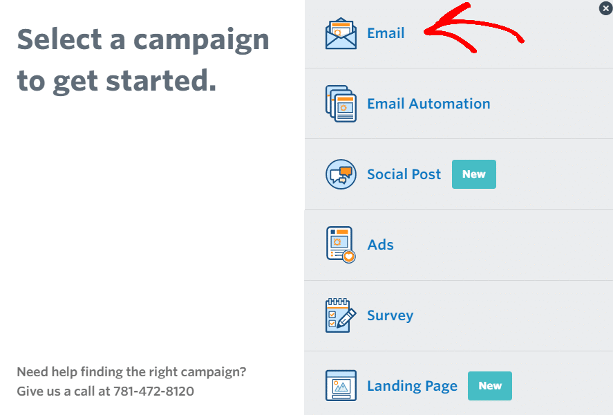 select a campaign to create an email newsletter