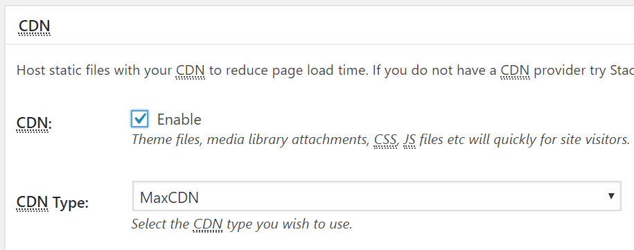 w3 total cache cdn settings