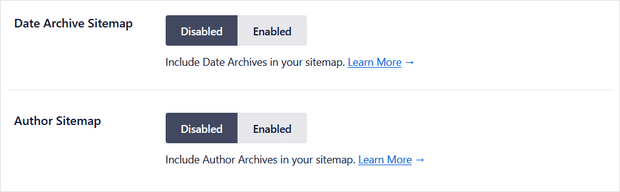 date and author sitemap settings