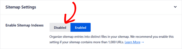 enable or disable sitemap indexes