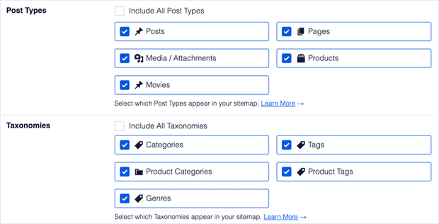 choose post types and taxonomies options