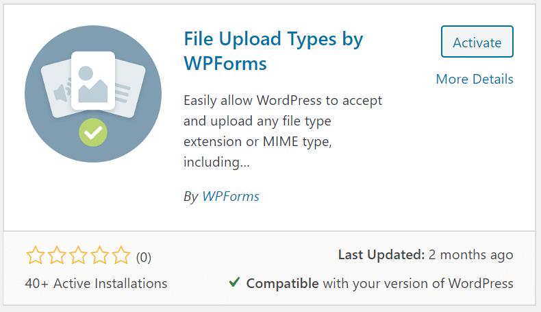 Types de téléchargement de fichiers par WPForms