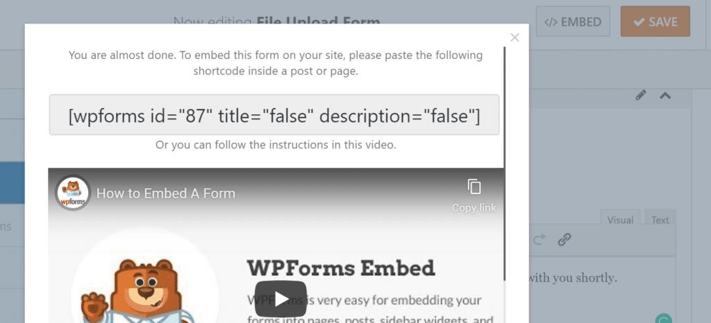 embed your file upload form