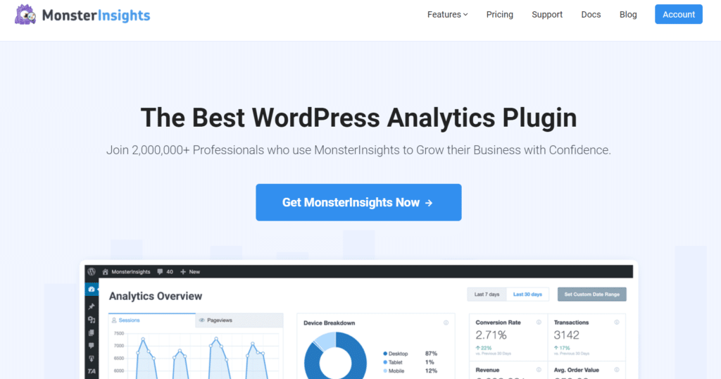 monsterinsights best google analytics plugin for wordpress