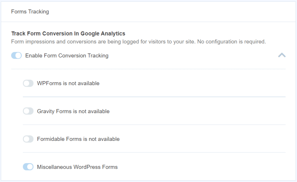 monsterinsights caldera forms tracking settings