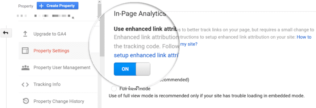 enable in page analytics