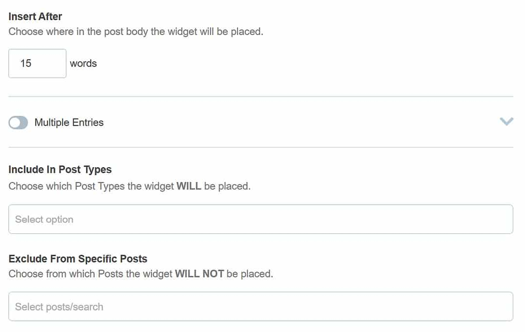 Insert After, Include in Post Types, and Exclude from Specific Posts settings