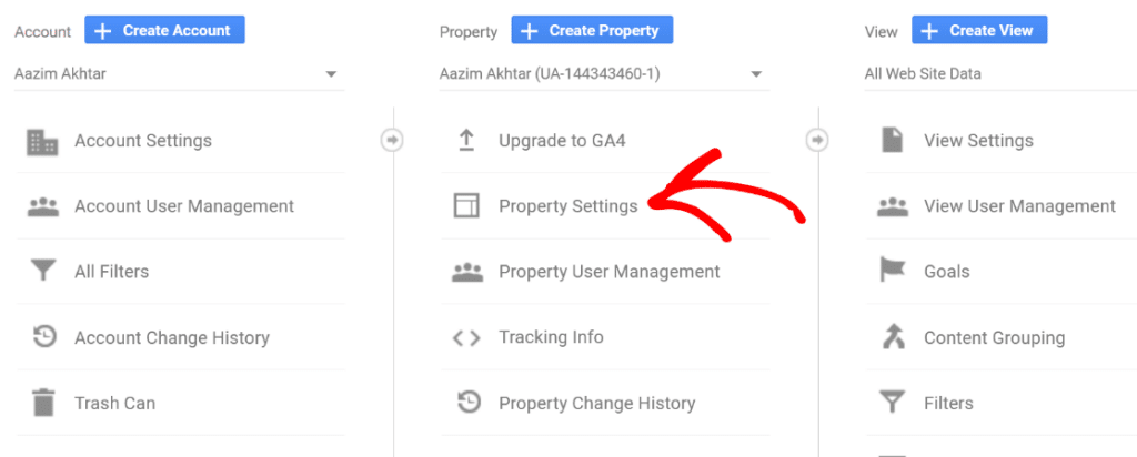 select property settings