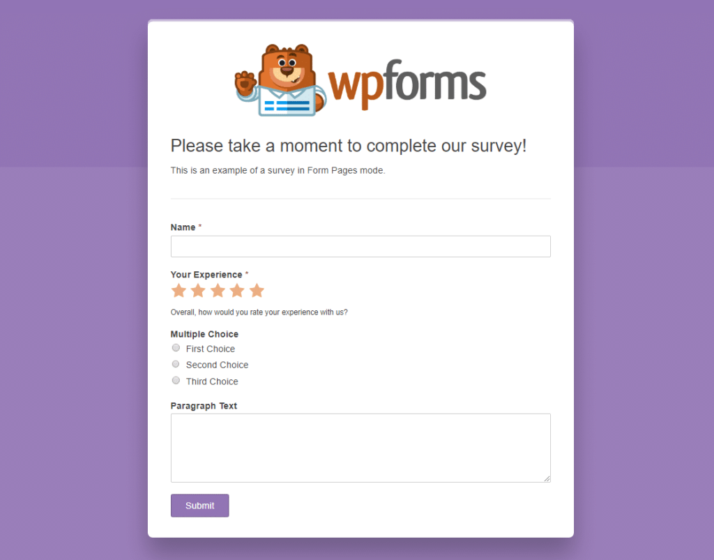 survey in form pages