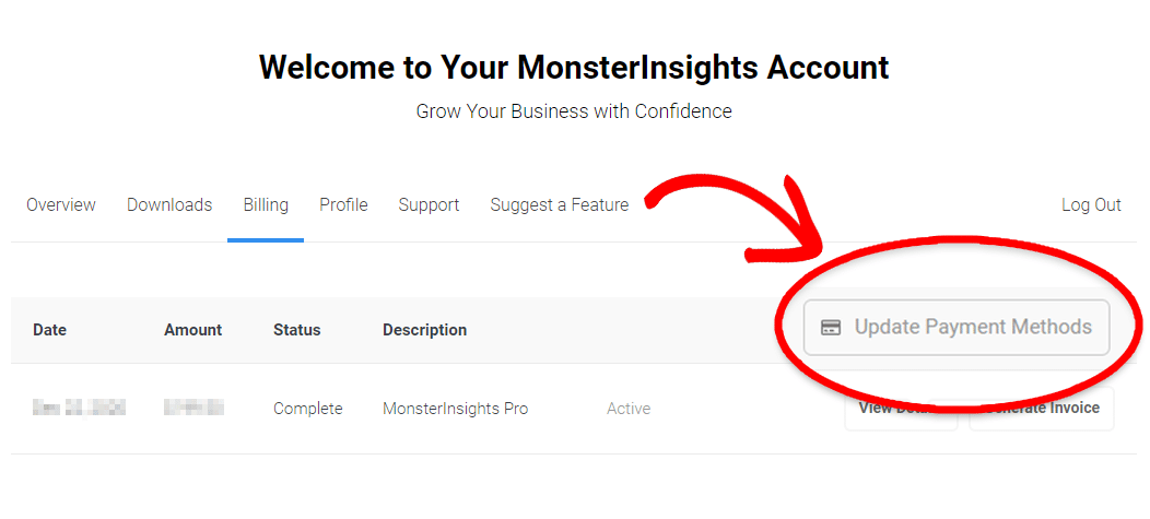 MonsterInsights - My Account - Billing Details view - Update Payment Methods button