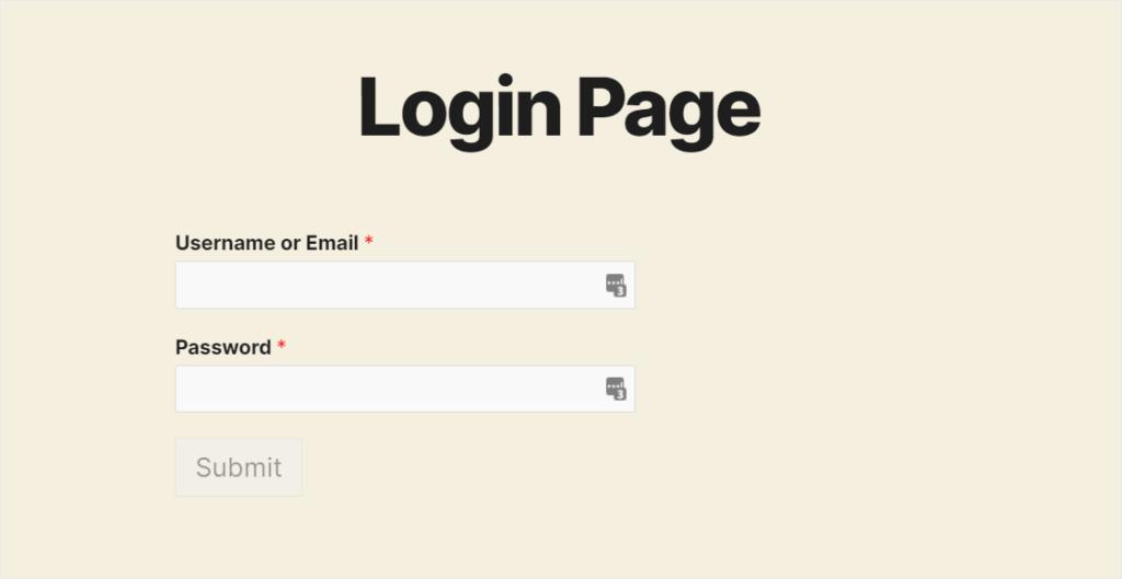 wpforms login page