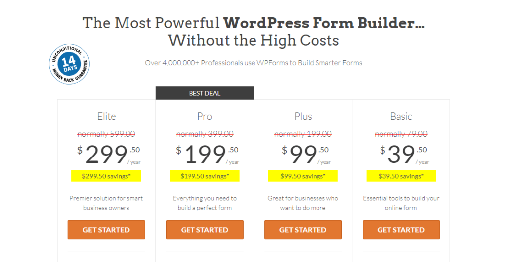 wpforms pricing page review