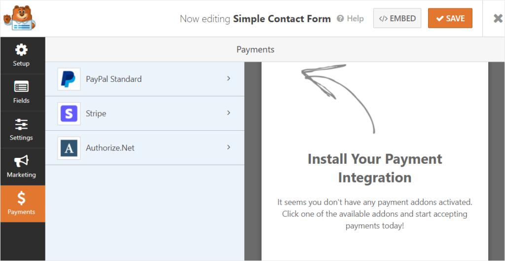 wpforms review payment integrations