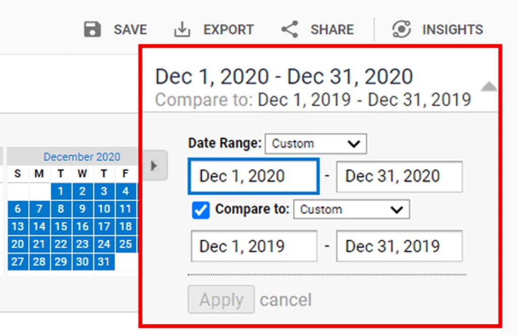 compare date in ga