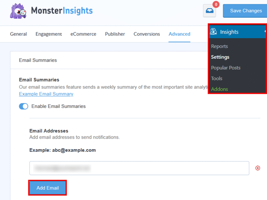 monsterinsights email summaries