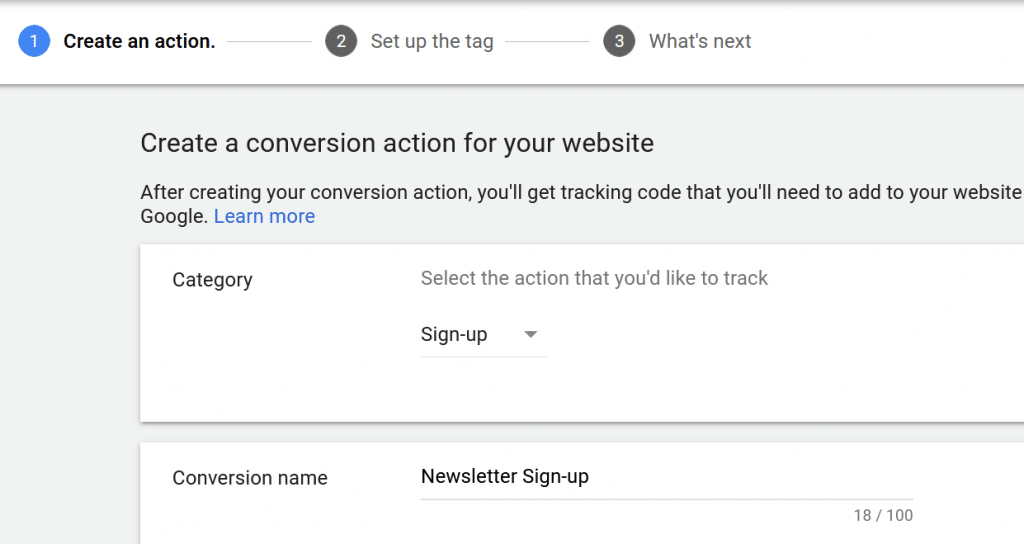 category and conversion name