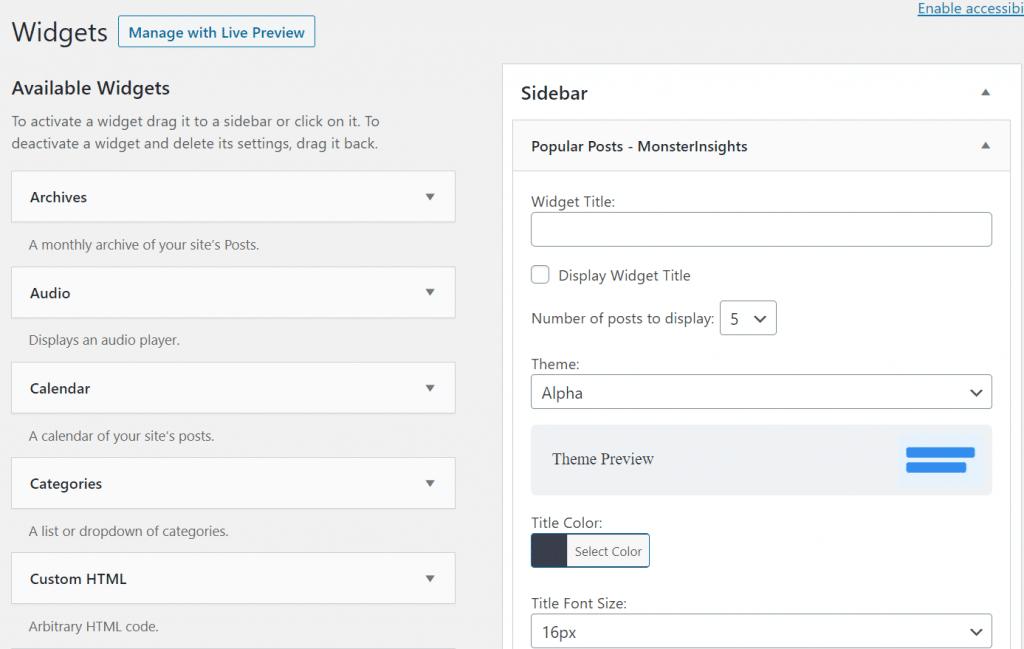 sidebar popular post widget