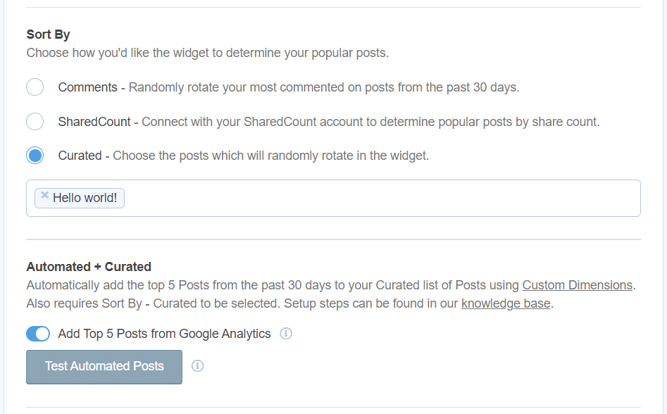 sort and curate popular posts