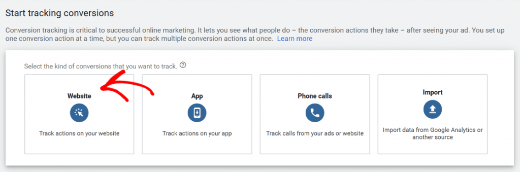 start tracking conversions