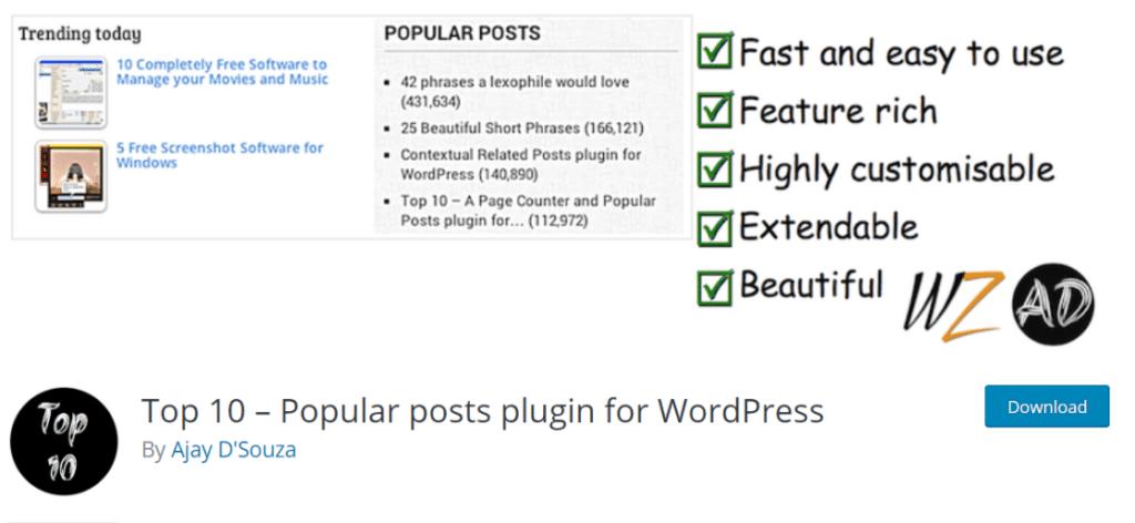 top 10 popular posts plugin for wordpress