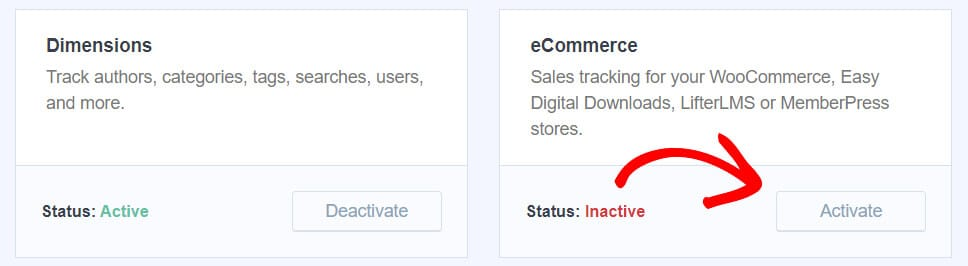 activate the ecommerce addon in MonsterInsights