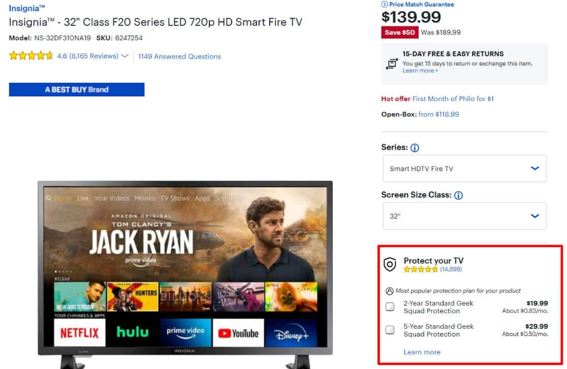 Best Buy add to cart upsell example