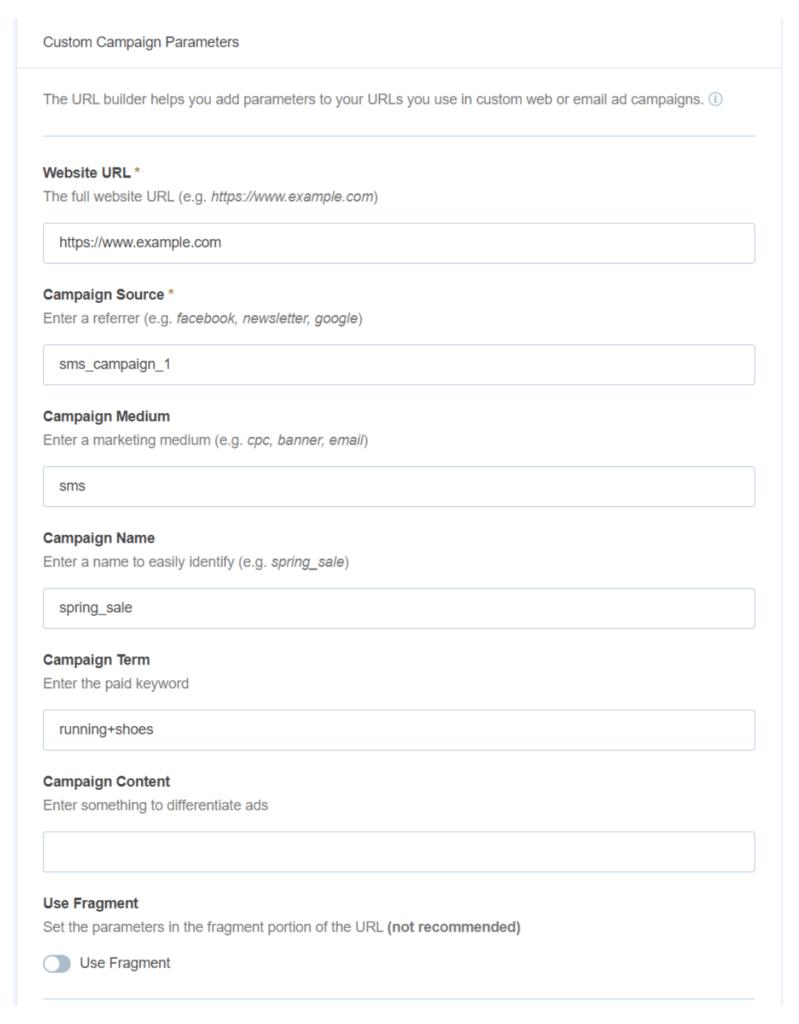 custom url builder sms campaign tracking