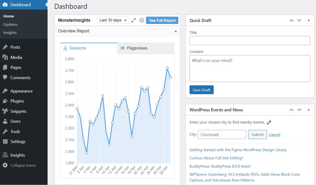 MonsterInsights in the WordPress dashboard