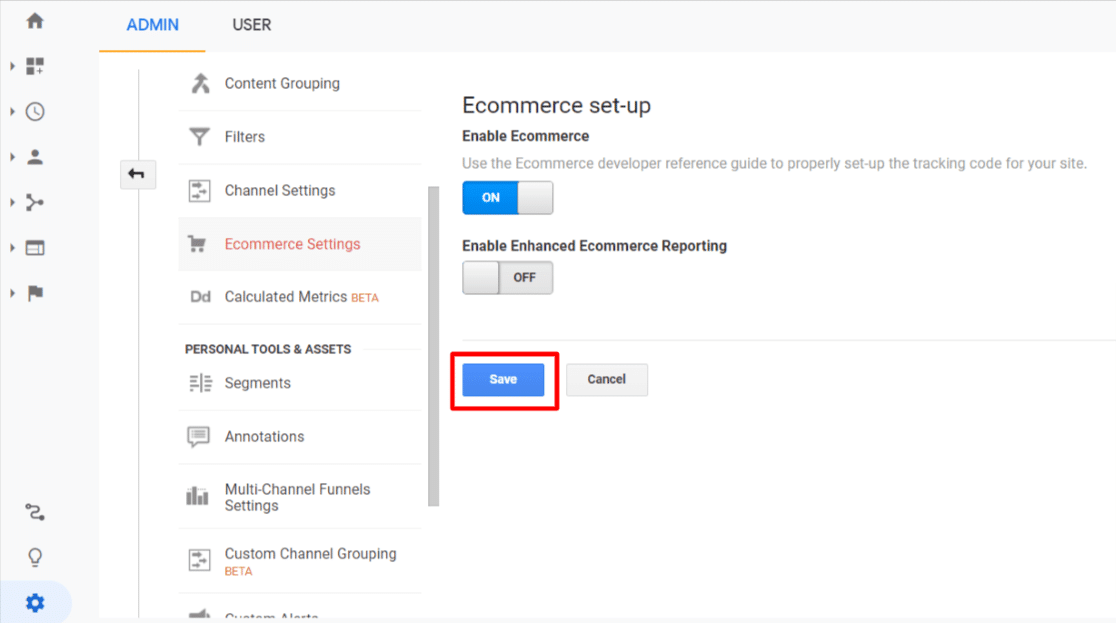 click to save ecommerce analytics settings