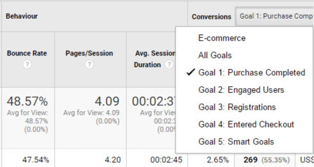 select goal in conversion menu