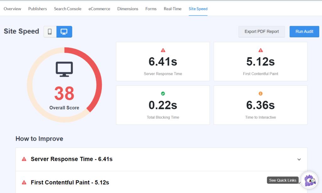 Website Speed Reports in MonsterInsights