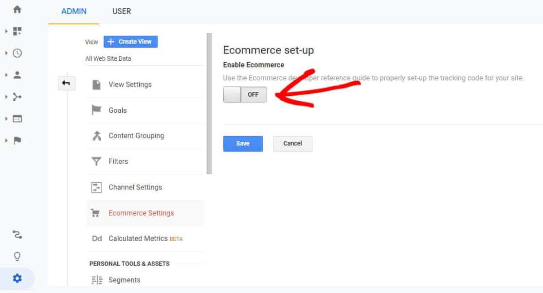 turn on ecommerce tracking in Google Analytics