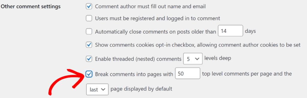divida os comentários em páginas