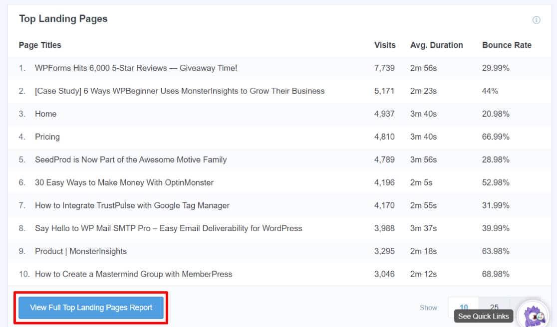 Afficher le rapport complet sur les meilleures pages de destination dans Google Analytics