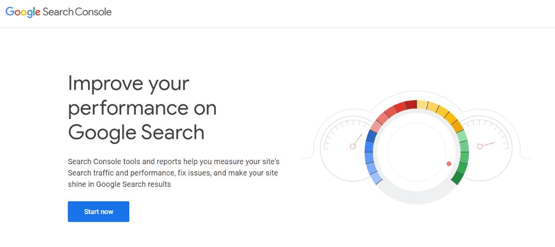 Page d'accueil de la console de recherche Google