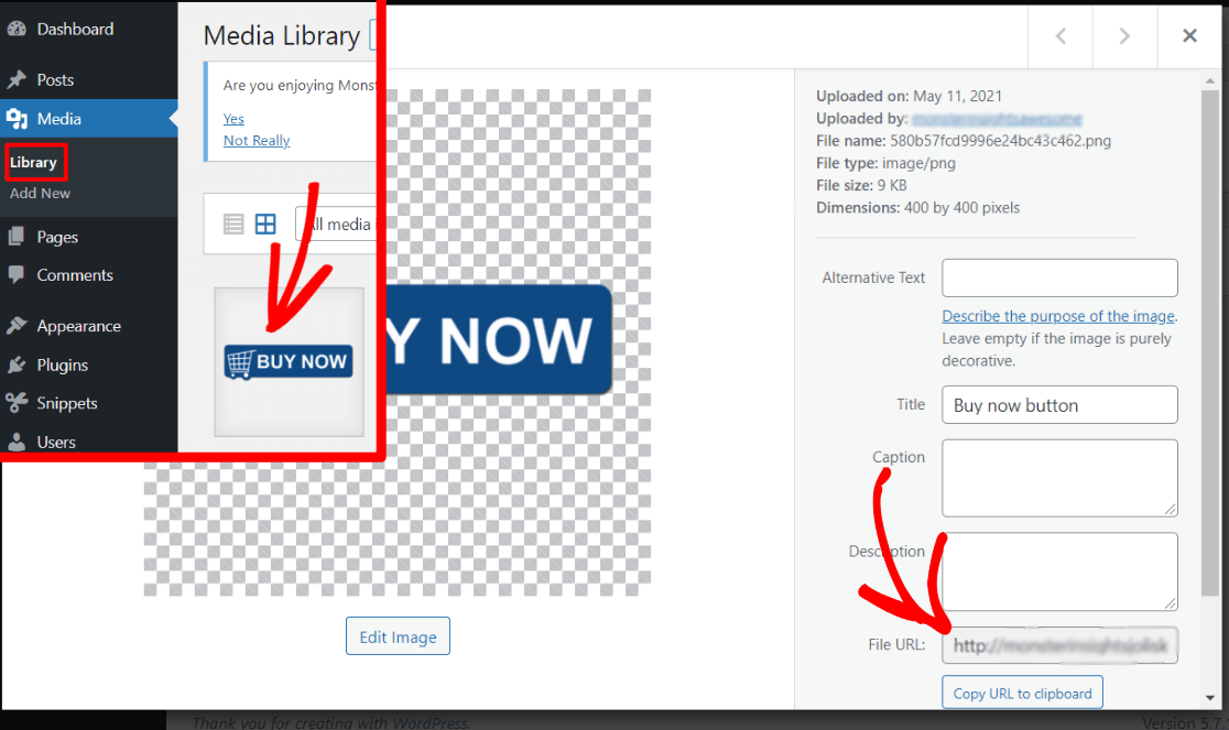 How to find your image link in the WordPress media library
