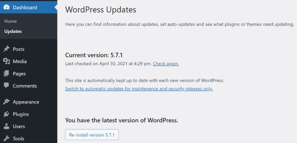 mantenha o wordpress atualizado
