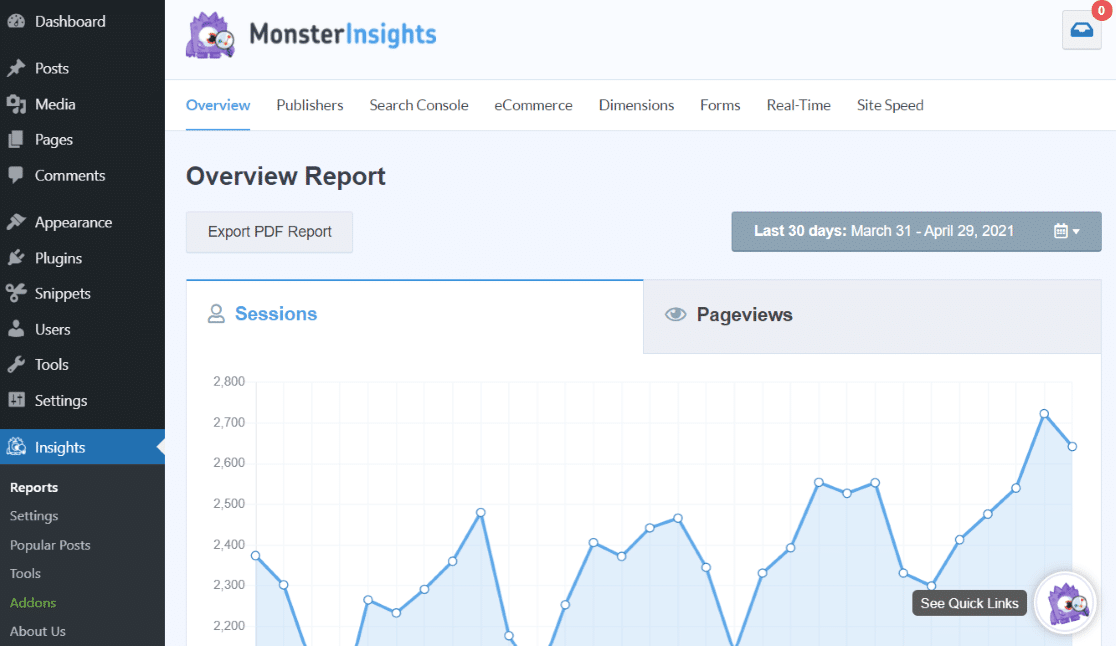 Tableau de bord WordPress MonsterInsights